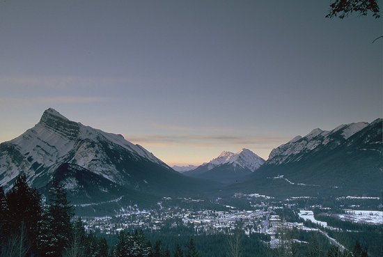 Banff National Park, Canada: Town of Banff as seen from Mt. Norquay