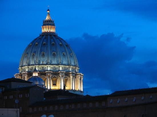 A View of Rome: The dome of St.Peter's at night