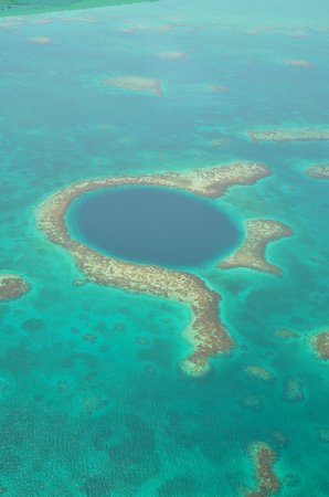 belize blue hole. Blue Hole from private plane