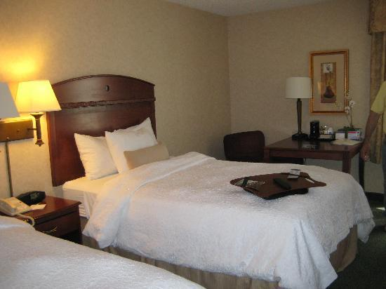 Hampton Inn Buffalo Airport: beds & table