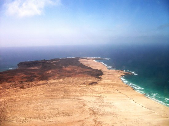 Boa Vista, Cabo Verde: First view of the Island from the plane