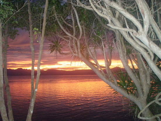 Moalboal, Filipina: Sunset from one of the gazebos