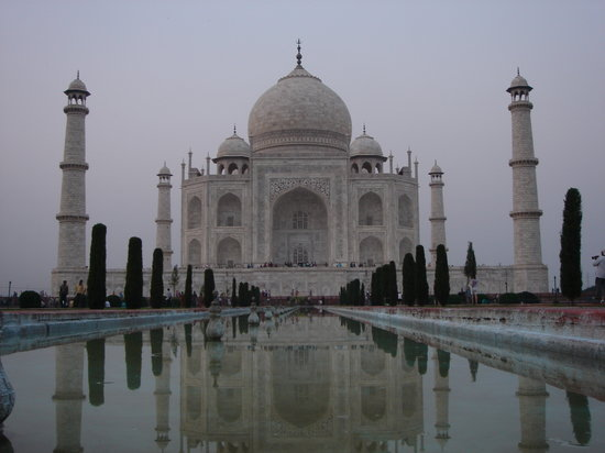 India: The Taj and untroubled waters at sunset