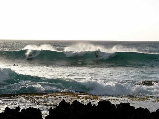 Kahuku, HI: watching surfers at Turtle Bay