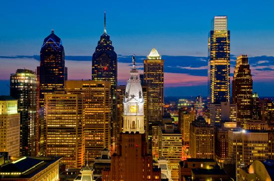 Philadelphia, PA: Dark Blue Skyline - Photo by B. Krist for GPTMC