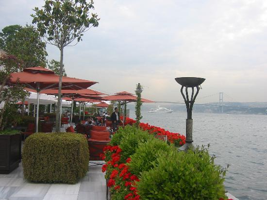 Four Seasons Istanbul at the Bosphorus: View from patio toward Europe/Asia Bridge at sunset