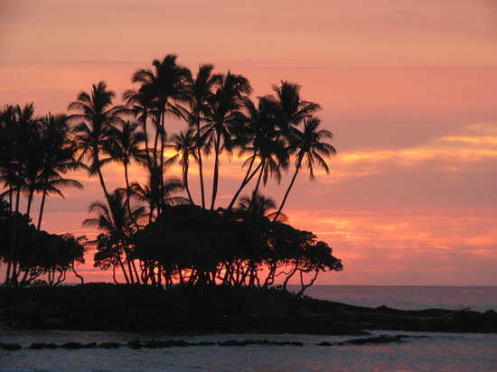 Kohala Coast, Havai: sunset at the beach