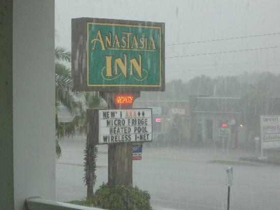 Anastasia Inn: View from our front door. It rained upon arrival.