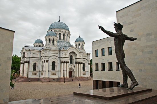 Kaunas, : A statue called Human in front of Zilinskas art gallery facing the sobor on Laisves aleja