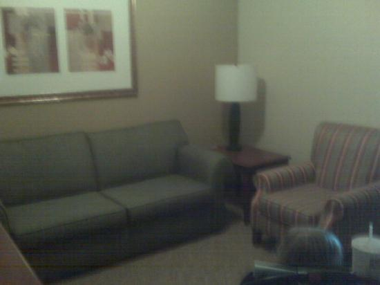 Country Inn & Suites Harrisburg-Union Deposit: About 3/4 of the livingroom...there is a dresser and flat screen tv to the left