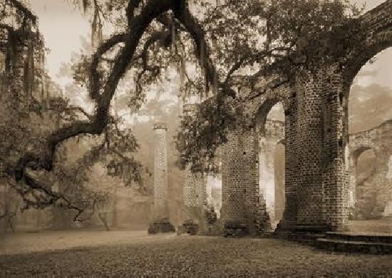 Yemassee, SC: The Old Sheldon Church Ruins on a misty morning in April