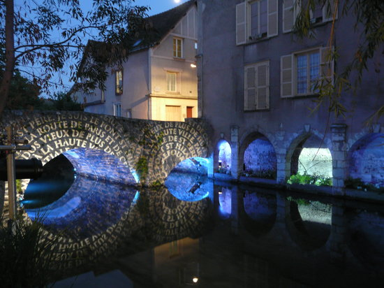 Chartres, France: Along the River - Night Illuminations
