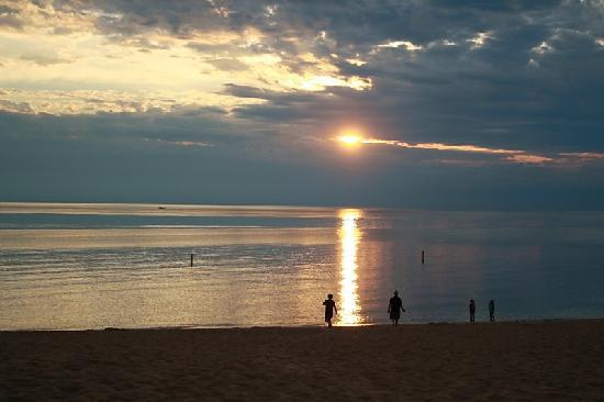 Saugatuck, : sunset at the Oval Beach