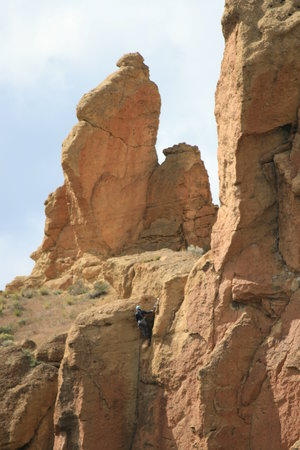 Redmond, OR: Smith Rock SP - look closely, climber near top