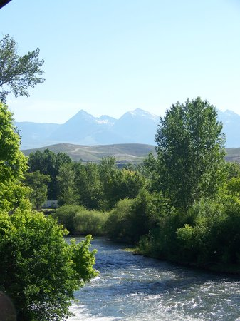 View from my balcony of Salmon River & distant mountains