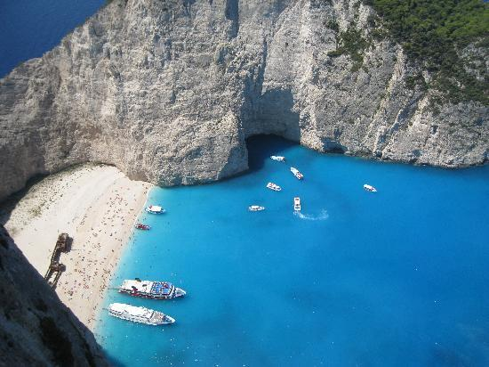 Laganas, Greece: Shipwreck from above