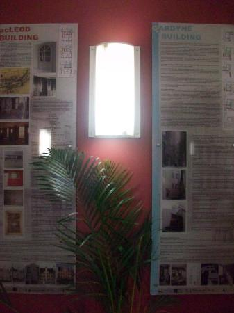Dundee Backpackers Hostel: info panels on walls show character of the building