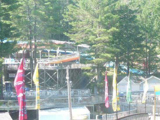 The Country Place Resort at Zoom Flume Water Park: Another view of waterpark from restaurant table