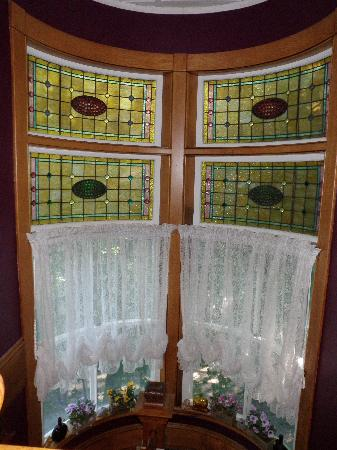The Jeweled Turret Inn: stained glass window, &quot;jeweled turret&quot;