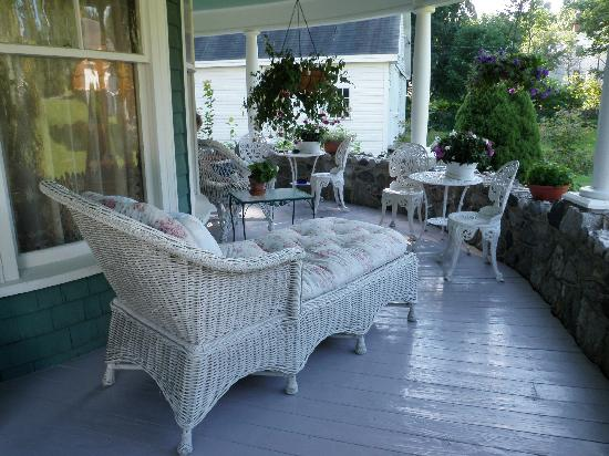 The Jeweled Turret Inn: back porch, perfect in the afternoon