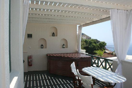 Our terrace view picture of anastasis apartments for Balcony hot tub