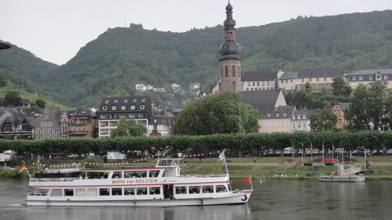 view of Cochem from restaurant terrace