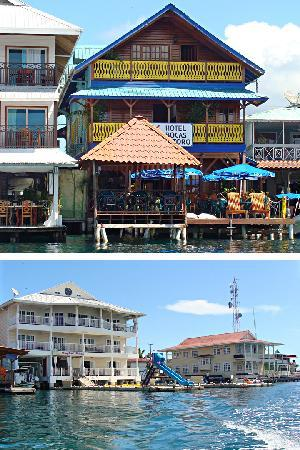 Isla Colon - view of Hotels from the pier