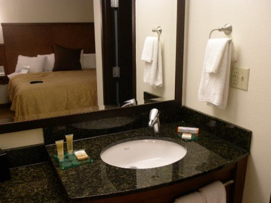 Hyatt Place Columbus/Worthington: Sink and cozy bed in the background