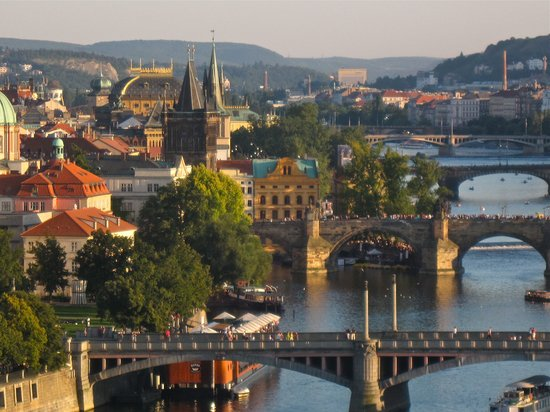 View of Prague and Voltva river