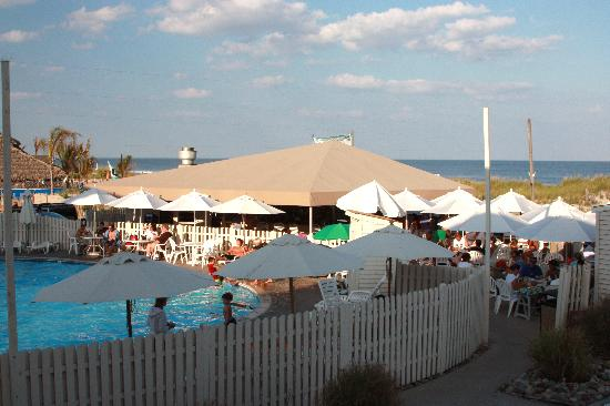 Engleside Inn: The Sandbar and pool. Beach path by pole far right.