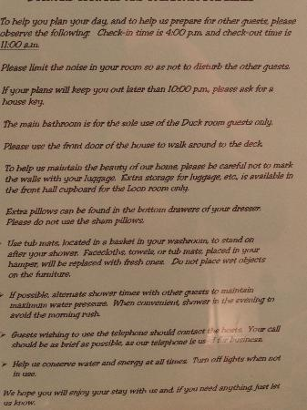 Duck and Loon Bed and Breakfast: Rules