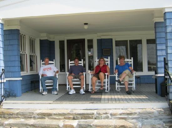 Whitefield, NH: Good Friends, relaxing on the porch.
