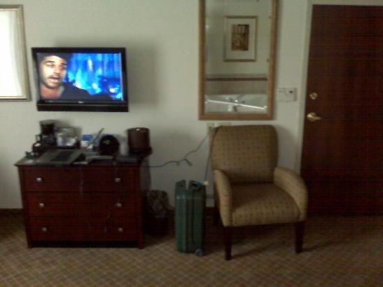 Holiday Inn Express Hotel & Suites Webster: Flatscreen TV, dresser, comfy chair