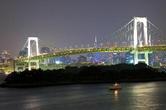Minato, Japan: Rainbow Bridge at night from Odaiba