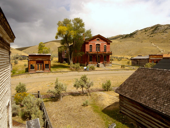 Dillon, MT: Town hotel as seen from 2nd floor of Masonic Lodge and one-room school.
