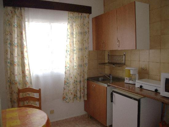 Hostal Nevada: Kitchenette has ;fridge, coffee maker, microwave oven gas cooker ( some have also a gas oven ), 