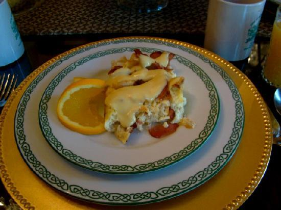 1896 O'Malley House Bed and Breakfast: our eggs benedict casserole with a cajun hollandaise sauce, amazing!!