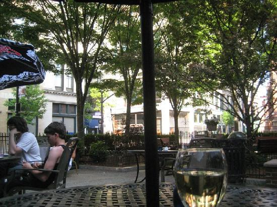 Hotel Providence: Hotel has shady park-like patio on the corner