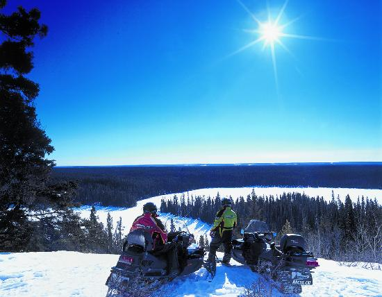 Snowmobiling in northern Saskatchewan
