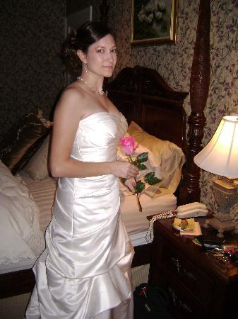 Shellmont Inn: My beautiful wife modeling her wedding gown in the carriage house.
