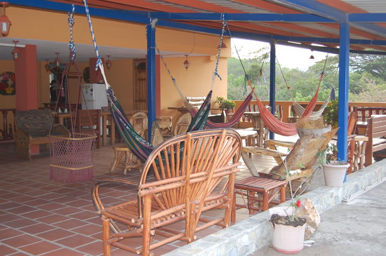 Hotel Residencial El Valle: Terrace with hammocks and fridge