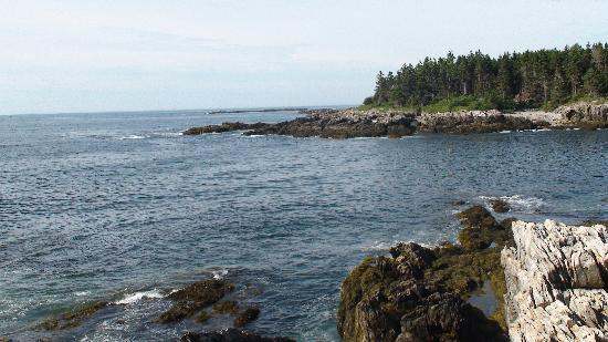Bailey Island, ME: View of ocean from front of Driftwood building