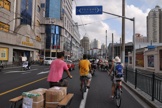 China Cycle Tours: Bicycles don't rule the road like they once did, but still are fairly respected in traffic.