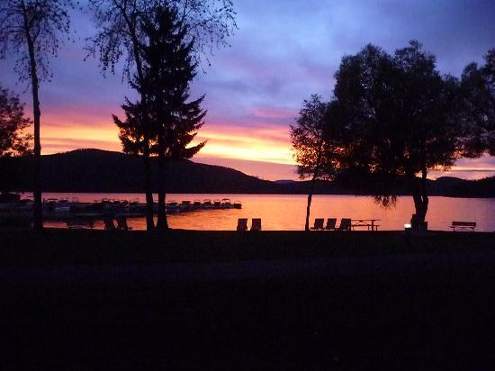 Lodge at Whitefish Lake: sunset out our patio of lake