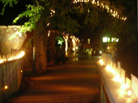 Rope Bridges And Fairy Lights Leading To The Restaurant