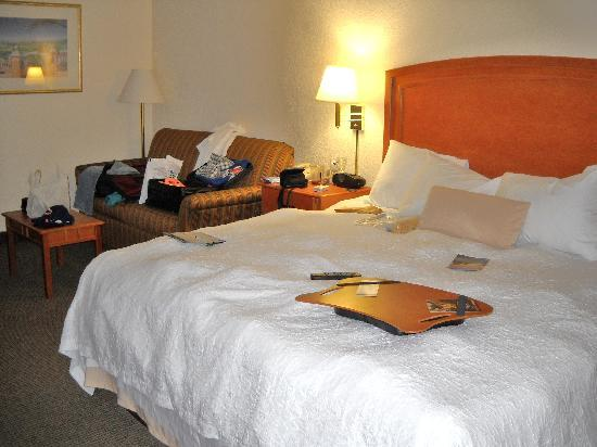 Hampton Inn St. Joseph I-94: king bed, loveseat, lots of lighting