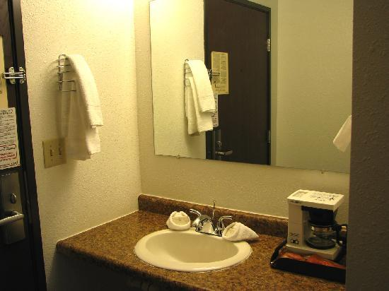 Duluth Spirit Mountain Inn - Americas Best Value : Sink, coffee maker, hair dryer and tissue dispenser