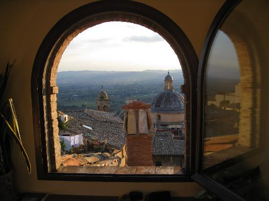 Assisi from the top window of Hotel