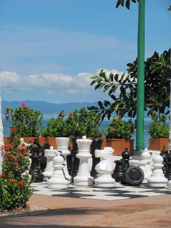 lawn chess by the main pool
