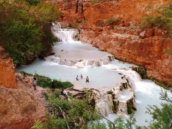 Supai, AZ: Beaver Falls from above